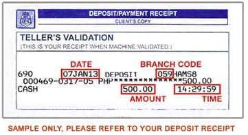 sample deposit slip